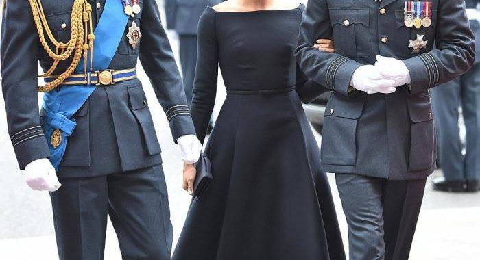 Меган Маркл в своем роскошном черном платье от Dior затмила красотой простенькую супругу принца Гарри