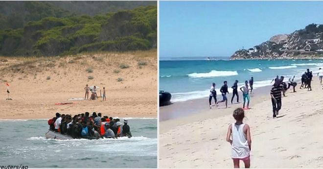 Туристы были удивлены, когда прямо на Испанский пляж приехала лодка с мигрантами