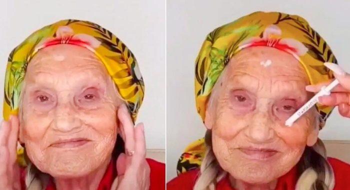 Накладные ресницы, волосы и яркая помада: стилист создал бабушке молодежный образ