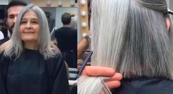 Женщина в возрасте решилась поменять имидж и вышла из салона шикарной красоткой