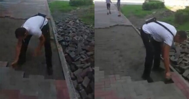 В Кузбассе рабочий, которому не заплатили за три месяца труда, разобрал уложенную им плитку