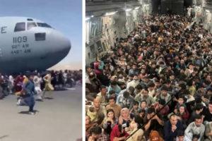 Фото: грузовой военный самолет США вывез из Кабула более 600 беженцев